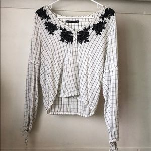 Abercrombie Checkered Blouse w/ Embroidery Detail